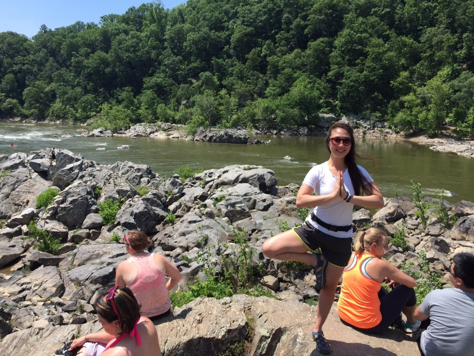 Me in a Tree Pose on the Billy Goat Trail.