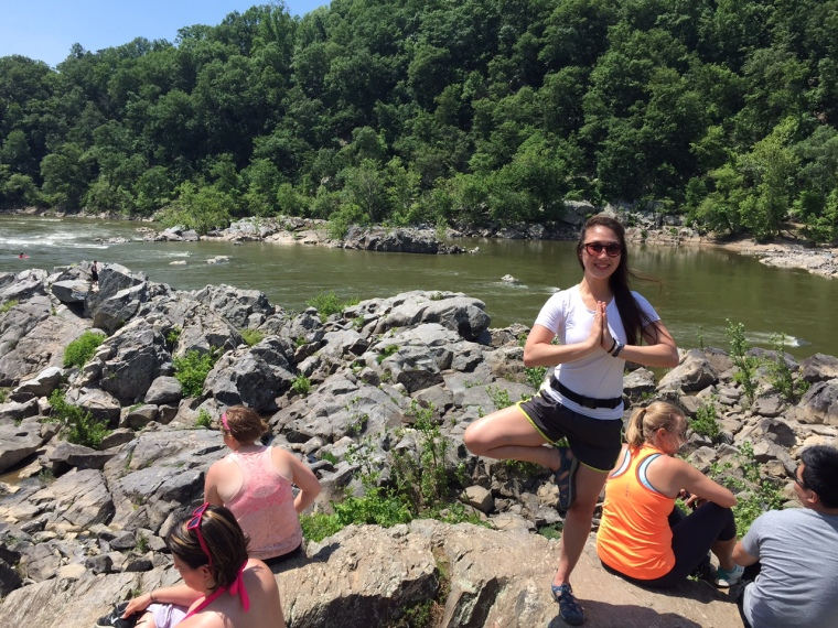 Me in a Tree Pose on the Billy Goat Trail in Maryland